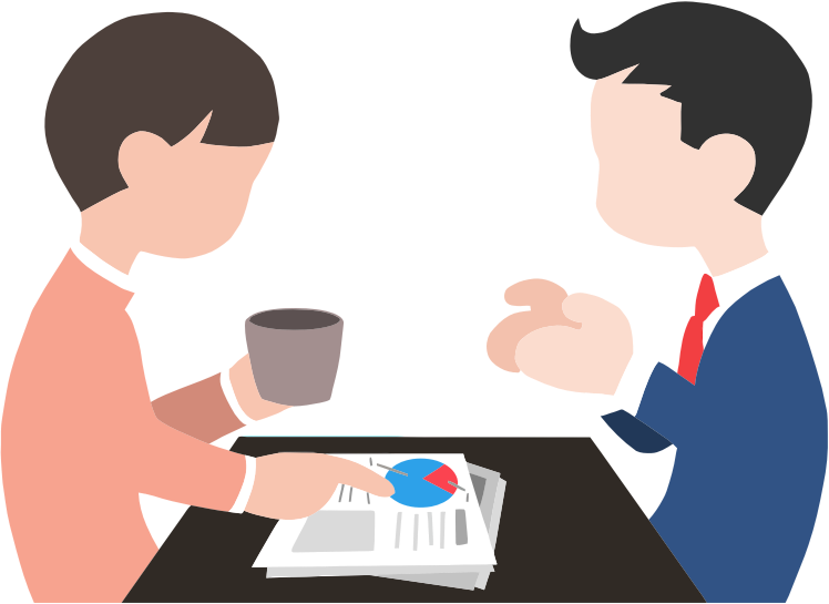 Two people meeting and discussing